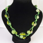 A1004 - Mixed Green Beads Necklace