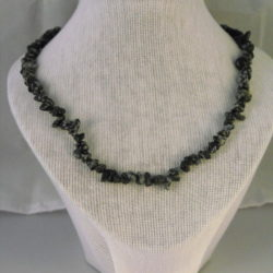 A1006 - Snowflake Obsidian Chip Necklace