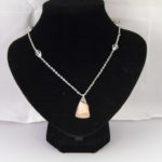 A1017 - Rose Quartz Pendant, Glass Crystals on Silver Chain