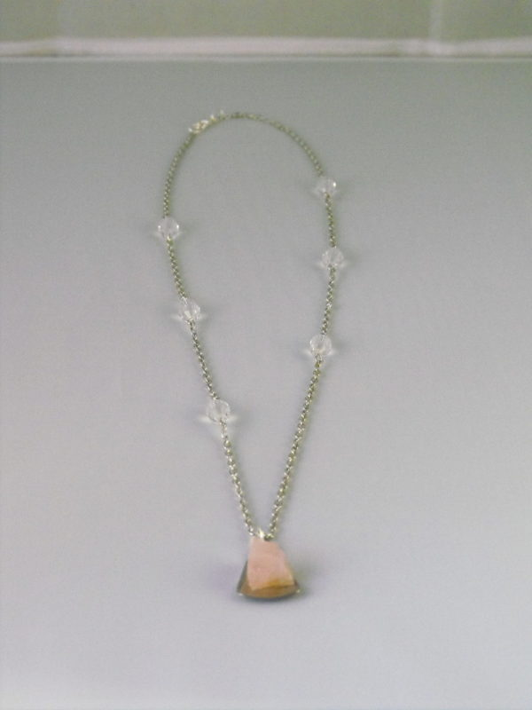 A1017a - Rose Quartz Pendant, Glass Crystals on Silver Chain