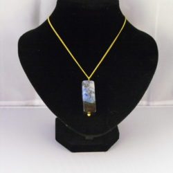 A1021 - Blue Black Agate Pendant Necklace