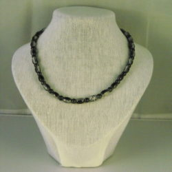 A1029 - Black Glass Ovals and Rounds Necklace