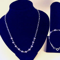 C0003 - Chunky Silver Chain, Gray Pearls Necklace, Bracelet