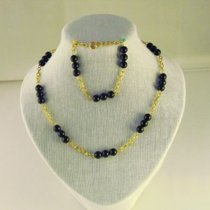 C0007 - Chunky Gold Chain, Black Agate Necklace, Bracelet