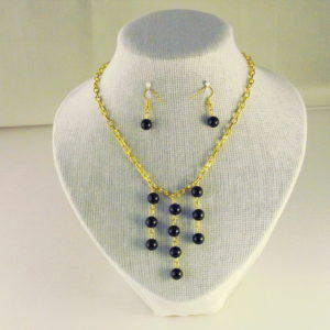 C0008 - Chunky Gold Chain, Black Agate Necklace, Ear Rings