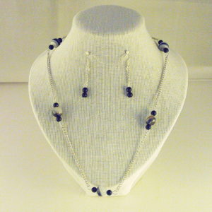 C0009 - Chunky Silver chain, Black Banded Agate
