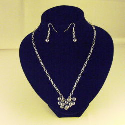 C0012 - Chunky Silver chain Gray Glass Pearls