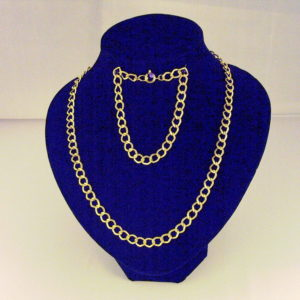 C0014 - Chunky Embossed Gold Curb Chain, Necklace and Bracelet