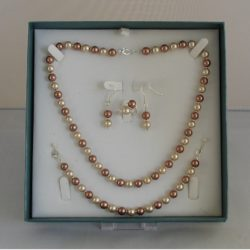 D0005 - Coffee & Cream Glass Pearls 4 Piece Set