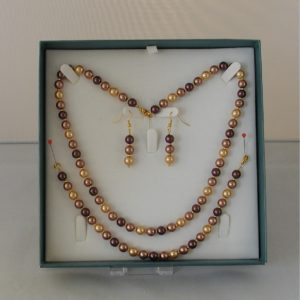D0009 - Chocolate Coffee & Cream Glass Pearls 3 Piece Set