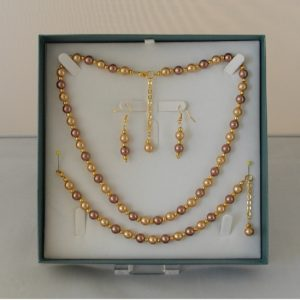 D0014 - Coffee & Cream Glass Pearls 3 Piece Set