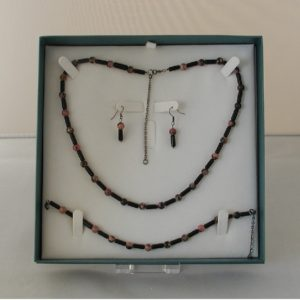 D0016 - Rhodonite & Black Glass 3 Piece Set