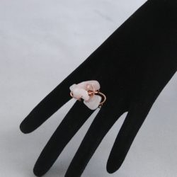 H0008 Copper Wire Wrapped Rose Quartz Ring