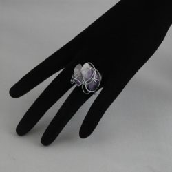 H0019 Chunky Silver Wire Wrapped Amethyst Ring