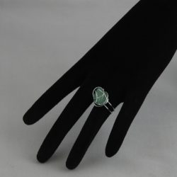 H0020 Silver Coloured Wire Wrapped Aventurine Ring