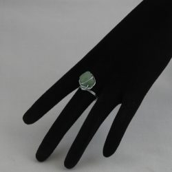 H0022 Large Silver Coloured Wire Wrapped Aventurine Ring