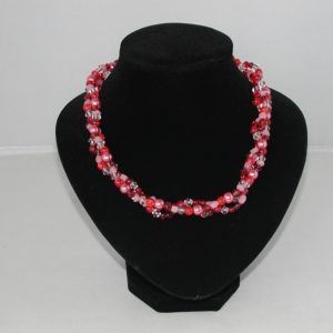 A1035 - Mixed Pink and Red Beads Three Strand Necklace