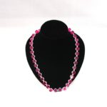 A1037 Pink Cubes & Silver Beads