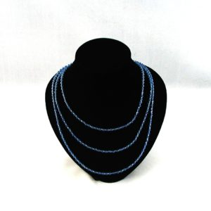 Blue Bi-cone Three Strand Necklace