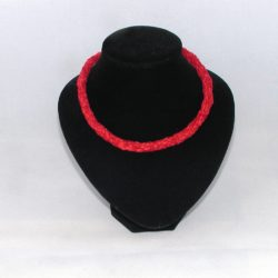 A1041 Red Chenille Kumihimo Necklace