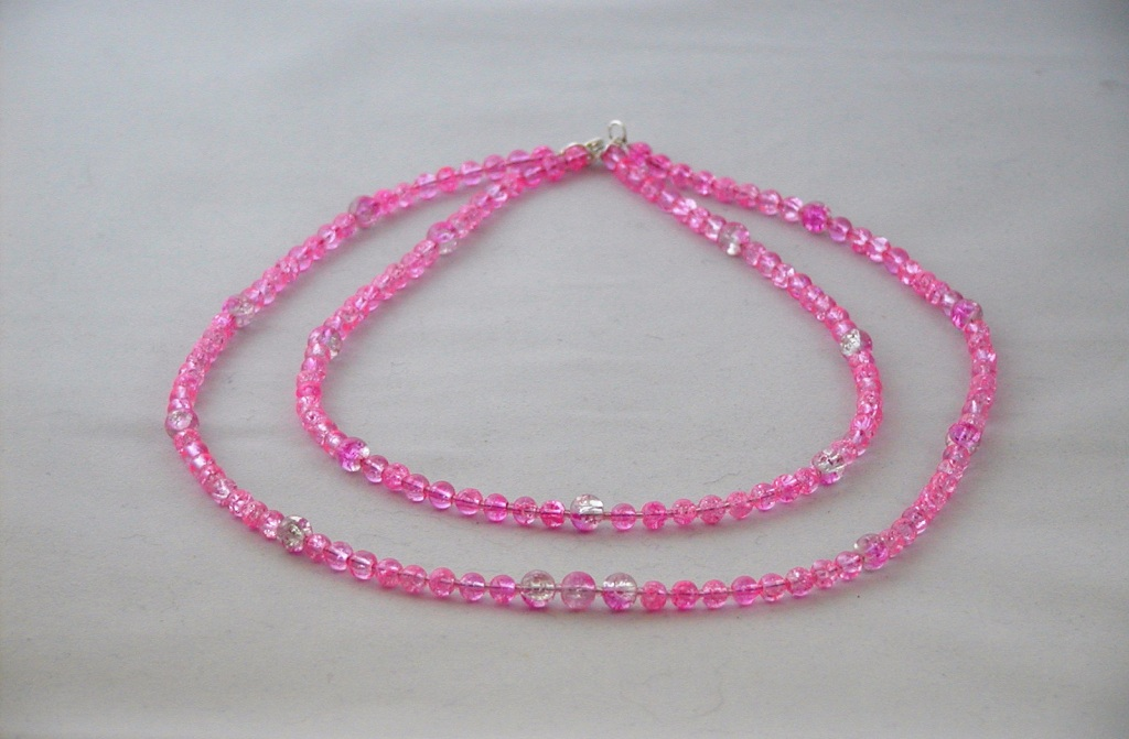 Pink Crackle Bead Two Strand Necklace