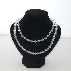 Crystal Bi-cone Two Strand Necklace