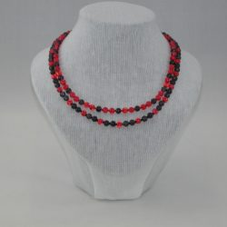 Red Black Crackle Bead 2 Strand Necklace