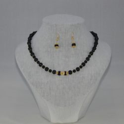 Black Onyx Necklace Ear Rings