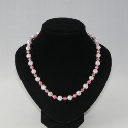Pink Silver Filigree Bead Necklace
