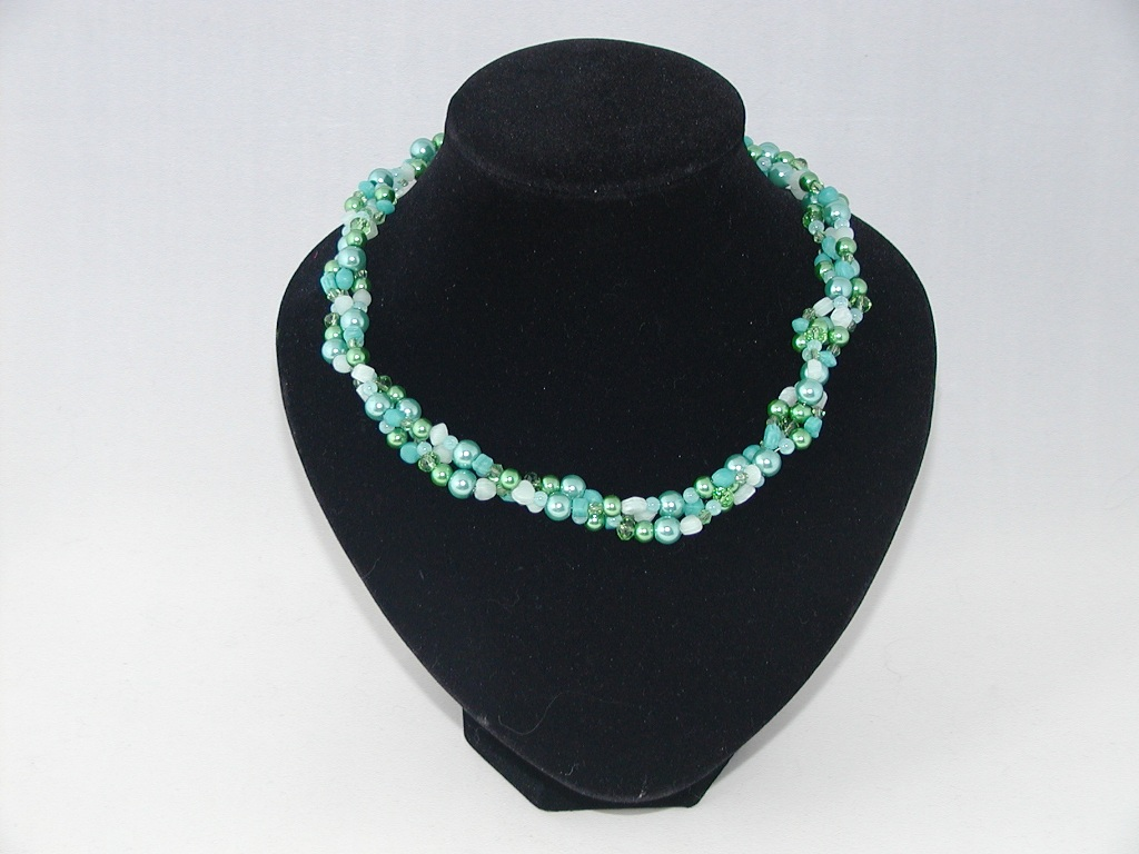 Blue Green Three Strand Necklace