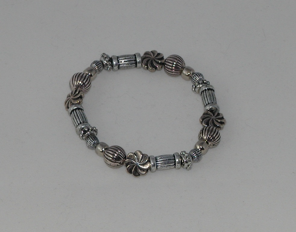 Mixed Silver Beads Bracelet