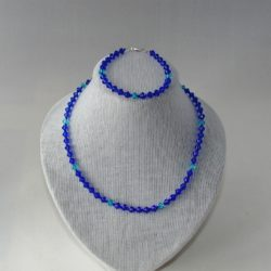Blue Bi-cones Necklace Bracelet