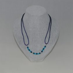 Blue Cord Bead Necklace