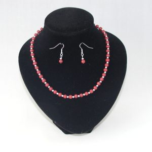 Burgundy Glass Pearls Necklace Ear Rings