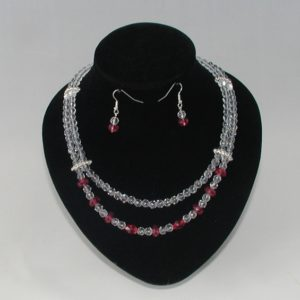 Crystal Rondelle Two Strand Necklace Ear Rings
