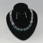 Rondelle Crystal Two Strand Necklace Ear Rings