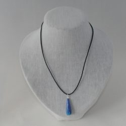 Black Leather Cord Blue Clay Pendant