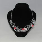 Pink Bead Silver Wire Work Necklace