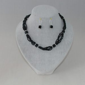 Black Bead Six Strand Necklace Ear Rings