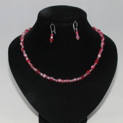 Red Crackle Bead Necklace Ear Rings