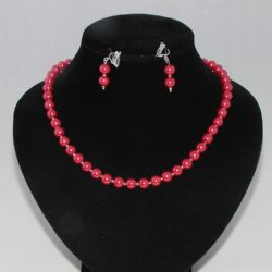 Rose Pearls Necklace Ear Rings