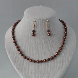 Chocolate Pearls Mahogany Obsidian Necklace Ear Rings