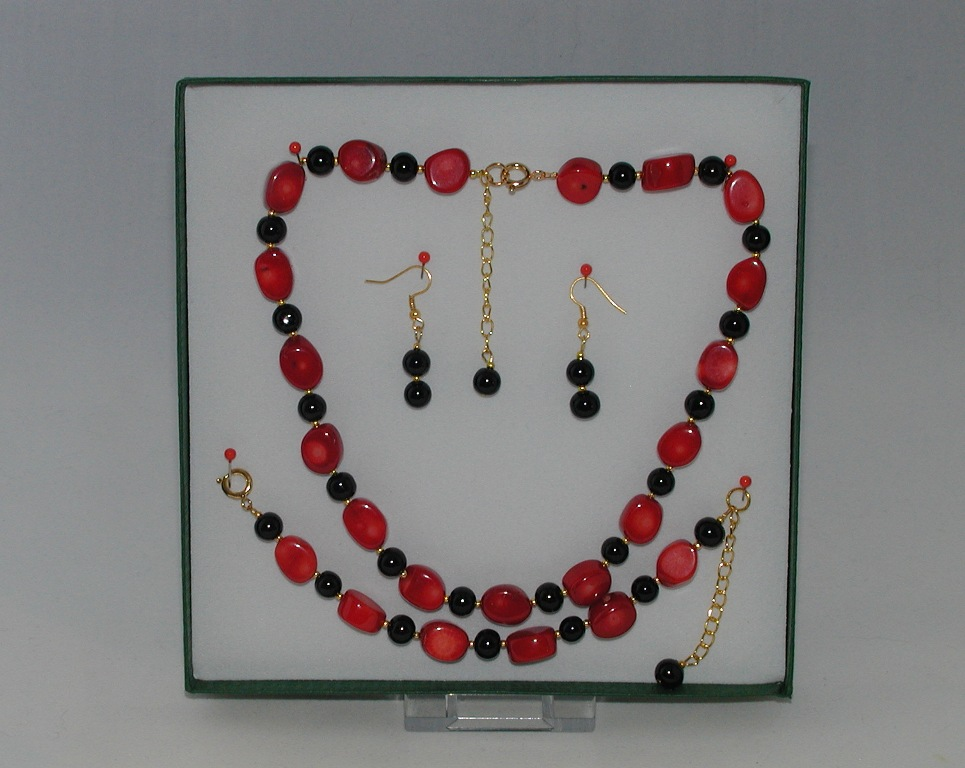 Red Coral Agate Three Piece Set