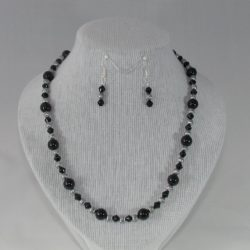 Black Beads Tibetan Silver Necklace Ear Rings