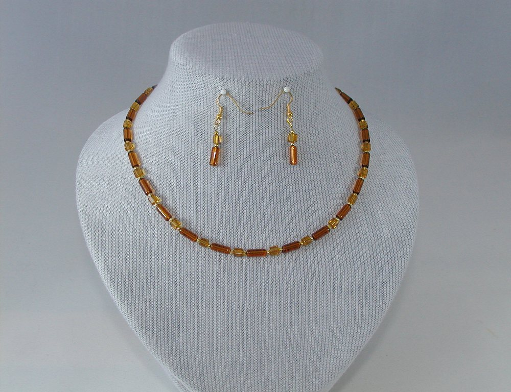 Amber Glass Tubes Necklace Ear Rings