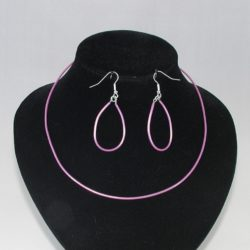 Neon Pink Necklace Ear Rings