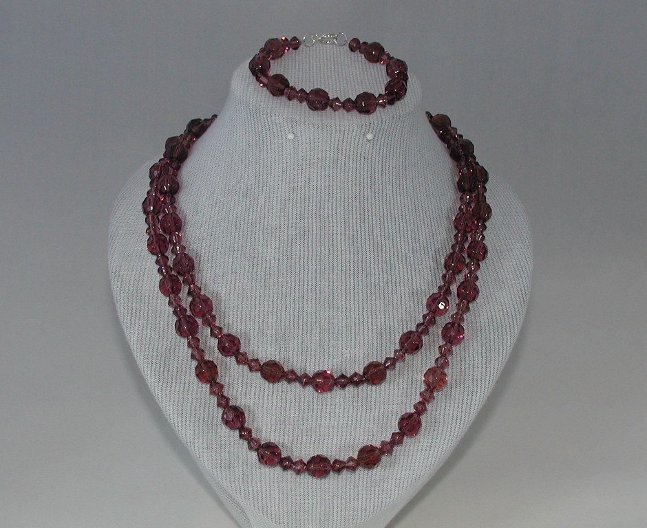 Dark Pink Crystals Two Strand Necklace Bracelet
