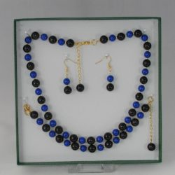 Black Beads Blue Mountain Jade