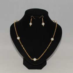 Gold Chain Pearls Necklace Ear Rings