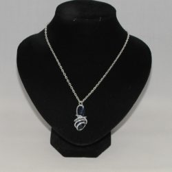 Silver Wire Blue Bead Necklace